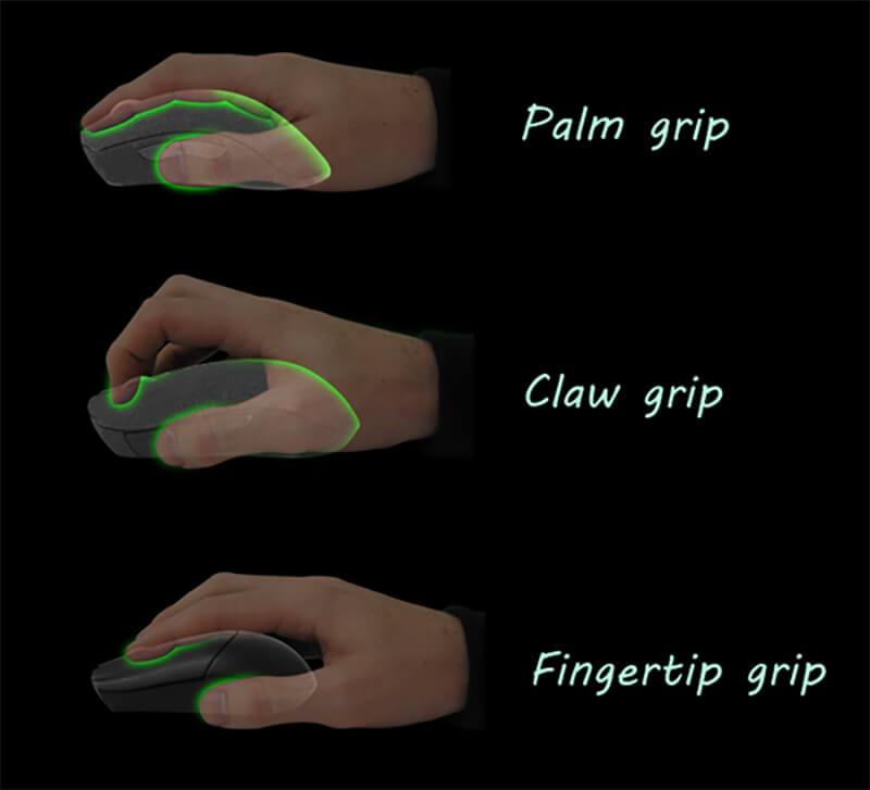Có 3 kiểu cầm chính (Palm grip, Claw grip, Fingertip grip)